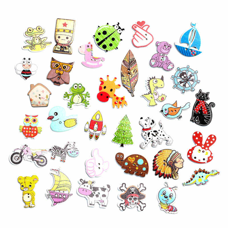 50pcs Mixed Sewing Wooden Button For Clothes Knitting Needles Crafts Scrapbooking DIY Fabric Buttons Decorative Accessories
