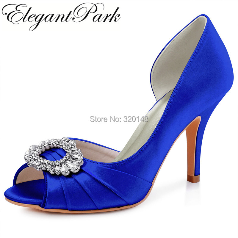 Woman High Heel Prom Party Pumps Blue Navy Black Peep Toe Rhinestones Bride Lady Satin Women Dress Bridal Wedding Shoes HP1710