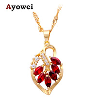 Enthusiastic Garnet Fashion Jewelry For Ladies Red Leaf Design 18k K Gold Plated Zirconia Necklaces Pendants