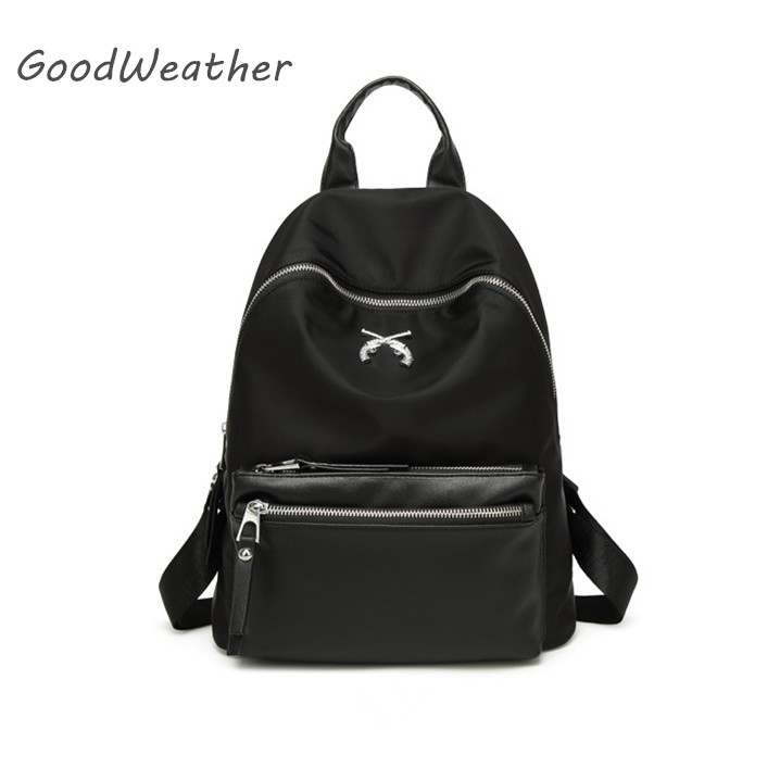 Fashion small black oxford backpack female high quality waterproof canvas backpacks for travel designer school bag