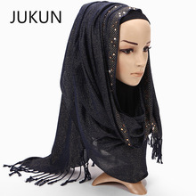 Monochrome gold silk braided point drill scarves Muslim hijab scarf fringed shawl scarfs for ladies настенные фотокартины gold point tf630t