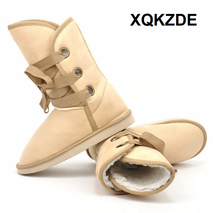 XQKZDE 2018 fashion Cross-Strap 25cm Height Winter Women Mid-calf Desert Fur Buckle Motorcycle Snow Boot 3KAF05