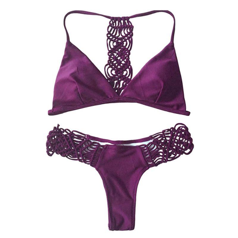 Sexy Women Swimwear Bandage Bikini Set Push-up Padded Bra Bathing Suit Swimsuit Black/Red Solid Color Women Bikini New 2017 нож дл газонокосилки bosch rotak 40 f 016 800 367