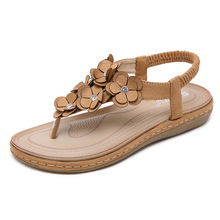 2019 Woman Sandals Bohemia Summer Sandal Shoes Pinch Clip Toe Flowers Flat Han Edition with Beach Women's Shoes bohemia shoes pinch sandals summer new beaded shoes page 1