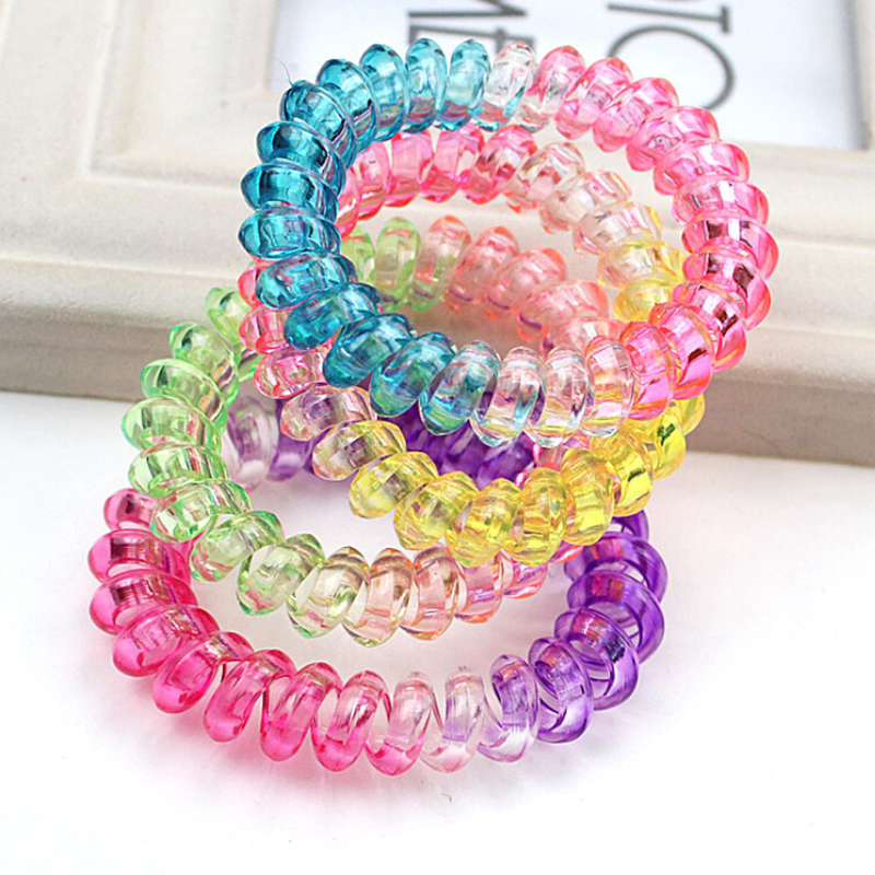 10pcs/lot Elastic Rainbow Colorful Telephone Wire Cord Hair Band Ties Band Rope Hair Jewelry