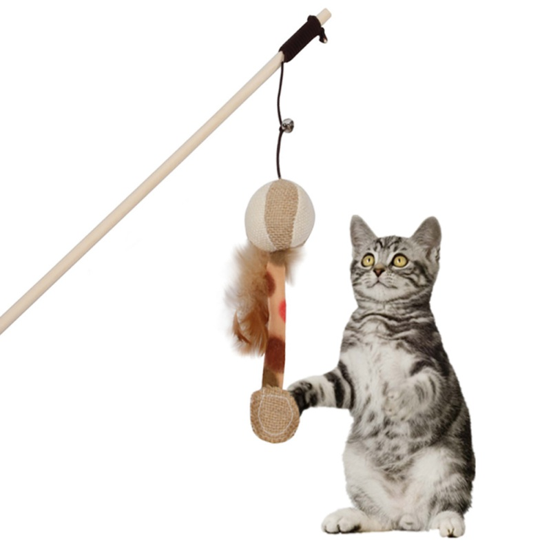 2019 Pet Cat Interactive Catcheroy Wooden Pole With Bells Elastic Rod Funny Cat Pumpkin Shape With Feather Cat Supplies
