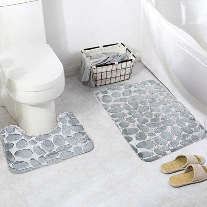 2PCS Soft Coral Velvet Soft Non Slip Bathroom Shower Mat Toilet Floor Rug Carpet Pad 1123