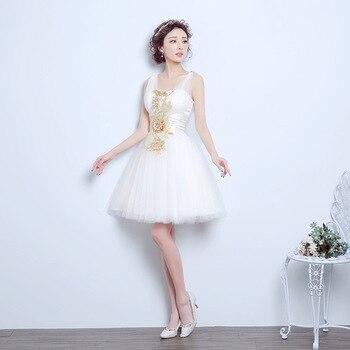 99db6d574 Blanco corto vestidos de graduación con cuello en V de baile bordado de  vestidos de baile de graduación vestidos 2019 envío gratis