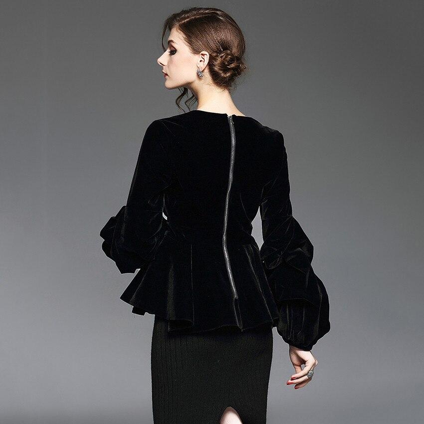 6705146aa02 Aliexpress.com   Buy 2018 Runway Designer Ruffle Black Velvet Tops Women V  neck Long Sleeve Retro Elegant Blouse Ladies Office Shirt Blusas Femininas  from ...