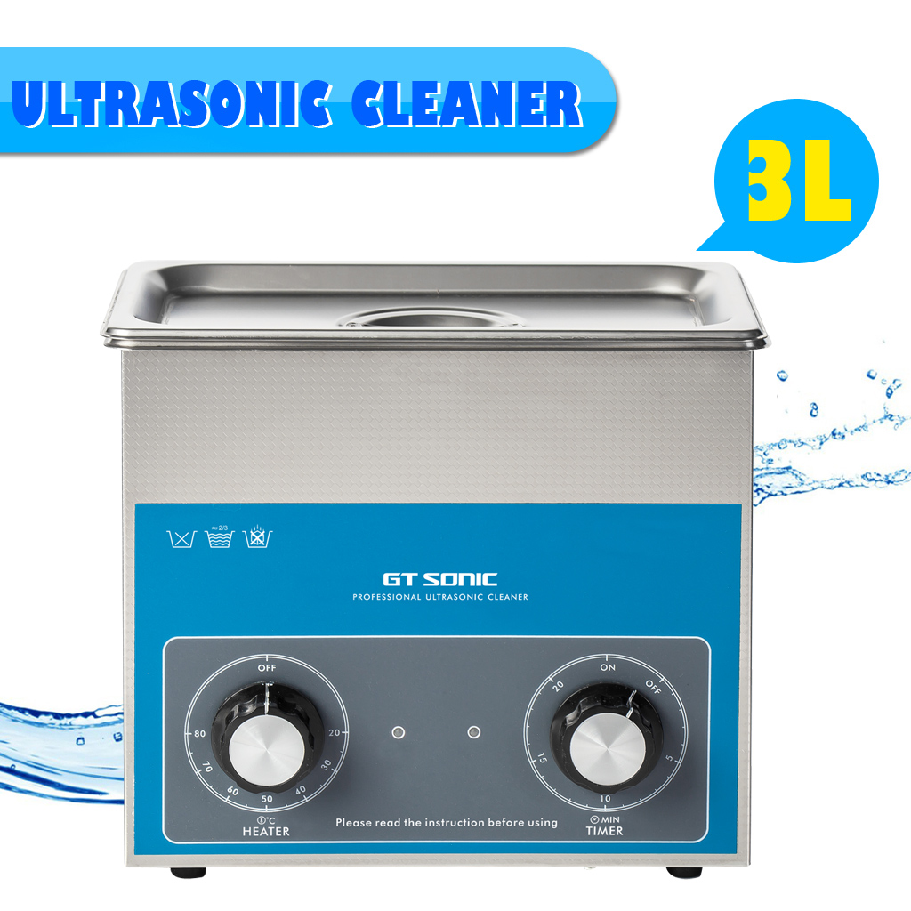 GTSONIC VGT-1730QT 3L 100W Ultrasonic Cleaner Stainless Steel SUS304 Jewellery Glasses Metal Ultrasonic Cleaning Machine US PLUG gtsonic ultrasonic cleaner 3l 100w ultrasonic cleaning machine stainless steel home cleaning cleaner with 4 time settings