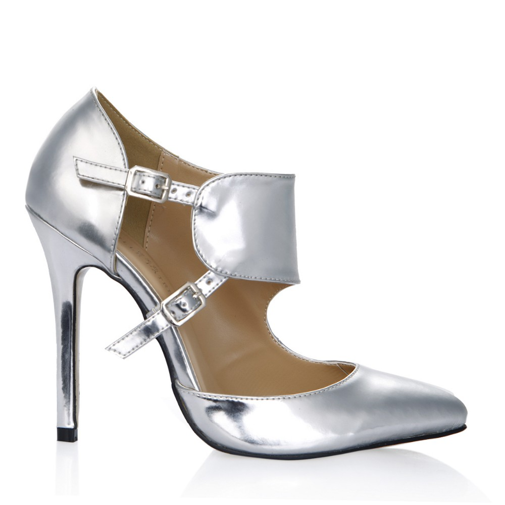 3a202426450b Sexy Pointed Toe Ankle Strap Buckle Side Hollow Fashion Cut-outs Pumps  Women Stiletto High Heels Prom Shoes With Wedding Shoes