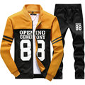2017 Spring Autumn New Mens Tracksuit Set Hooded Casual Slim Hoodies Suits Men (Asian Size)