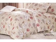 Комплект постельного белья двуспальный-евро СайлиД, A, бежевый, с цветами