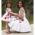 Elegante Curto Branco Da Menina de Flor Vestidos com Apliques A Linha Tanque Vermelho Top Saia Drapeada Mãe Filha Vestido de Correspondência Para A Festa