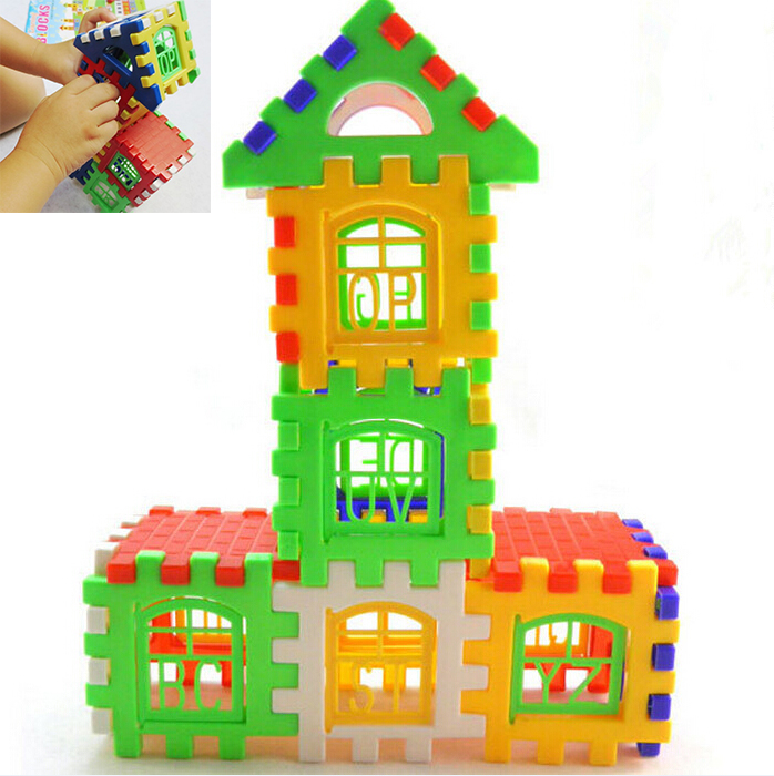 kids blocks children letters learning toy bricks house building blocks 24 pcs