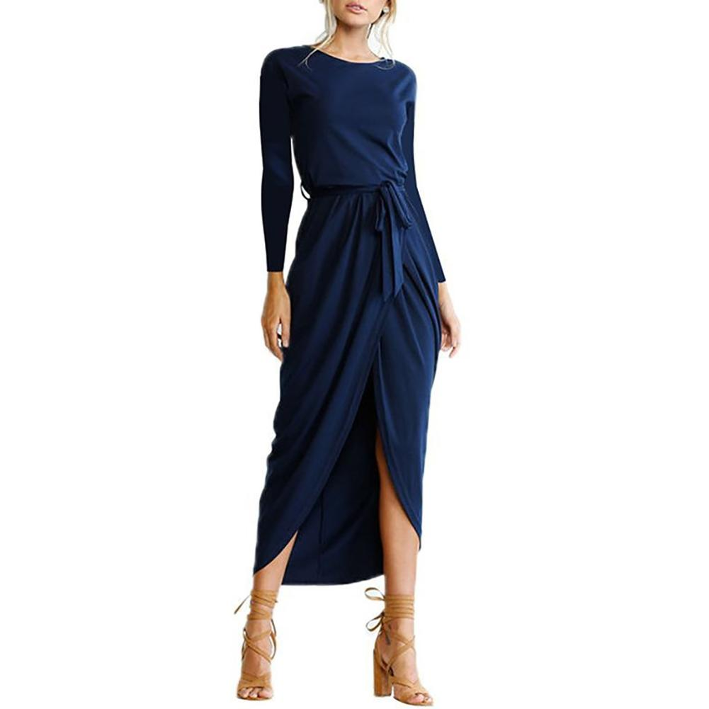 Leisure Fashion European Style Autumn Winter Solid Color Long-Sleeved Dress Round Neck Loose Sexy Irregular Hem Long Dress