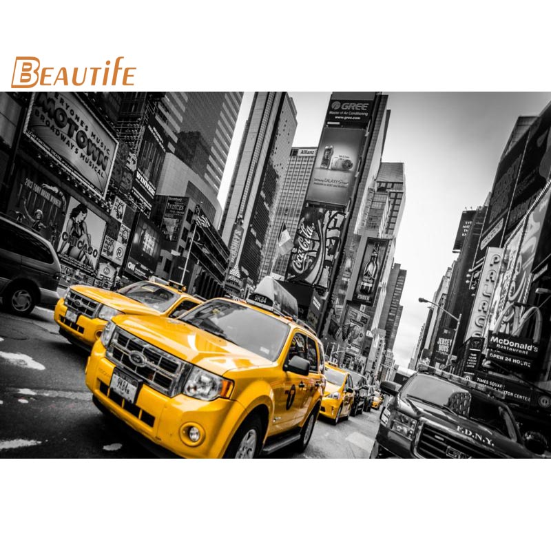 Hot Sale Custom  Machine New York Taxi  Poster Home Decoration Fashion Silk Fabric Wall Poster Custom  Poster