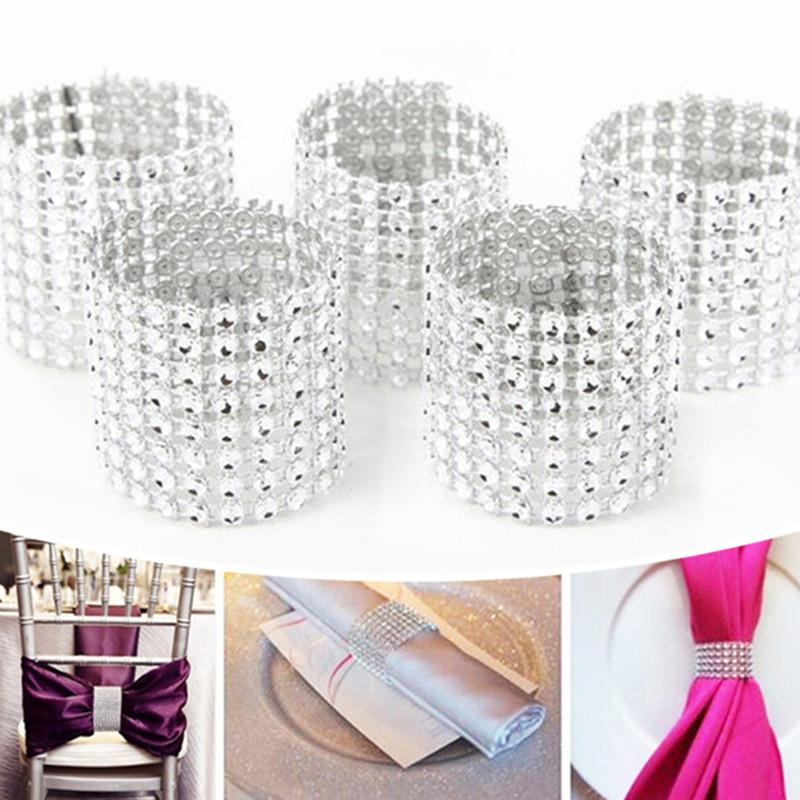 DoreenBeads Hot Plastic Table Napkin Ring Rhinestone 8 Rows Table Decoration Wedding Restaurant Party Use Approx. 13*4cm 1PC