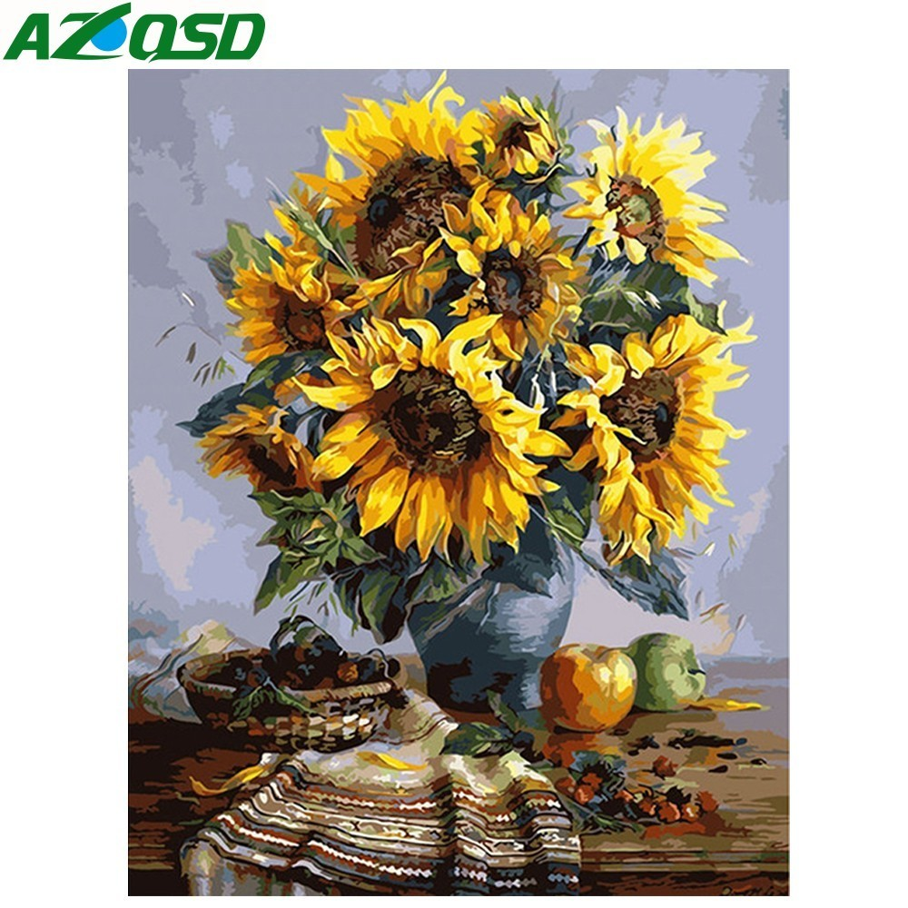 Oil-Painting Sunflowers Frameless-Picture Numbers Abstract On-Wall 40x50cm Szyh091 Acrylic