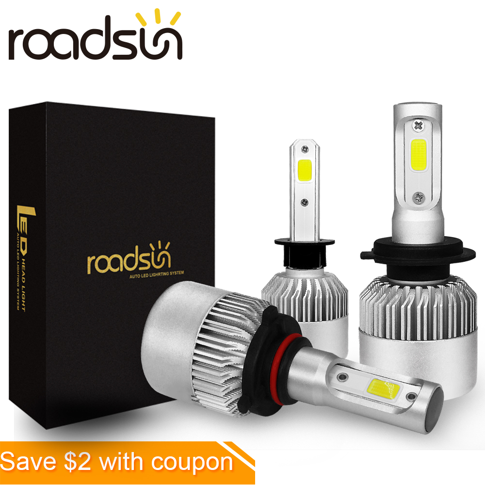 roadsun Car Headlight 9005 9006 9004 9007 880 H1 H3 H13 H11 Luz Led Automovil kit H4 HB3 HB4 H7 Led Bulb Auto Light Lamp 12V
