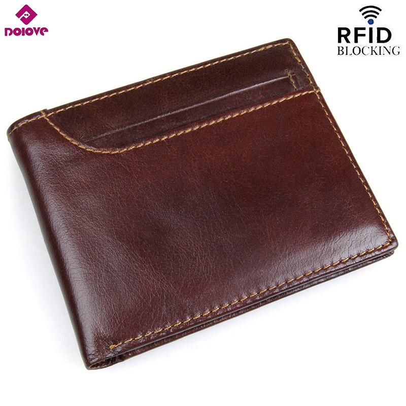 DOLOVE Men Wallet Purse Rfid-Protection Bifold Vintage Genuine-Cow-Leather Card-Holder