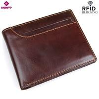 DOLOVE New Style RFID BLOCKING Men Wallet Vintage Genuine Cow Leather Bifold Purse Card Holder RFID