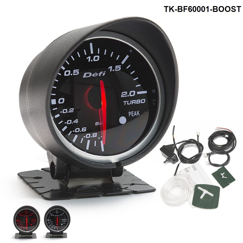 Universal DF BF Style Racing Gauge Car Turbo Boost Gauge with Red & White Light For Ford Mustang 01-07 TK-BF60001-BOOST universal racing gauge turbo boost gauge greddi 7 light colors lcd display with voltage meter 62mm 2 5 inch with sensor