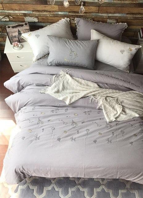 4 Teilig Gewaschener Baumwolle Stickerei Einhorn Luxus Bettwäsche
