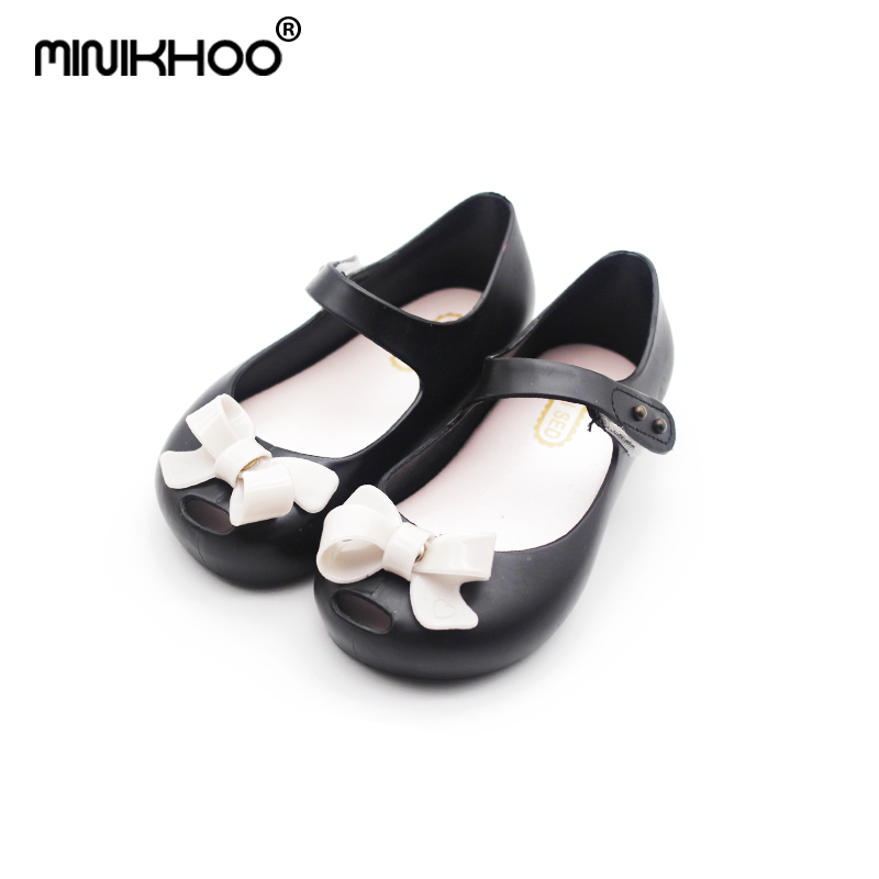 Mini Melissa Original Girl Jelly Sandals Bow 15-18.5cm Children Shoes Baby Princess Sandals Girl Shoes For Children High Quality