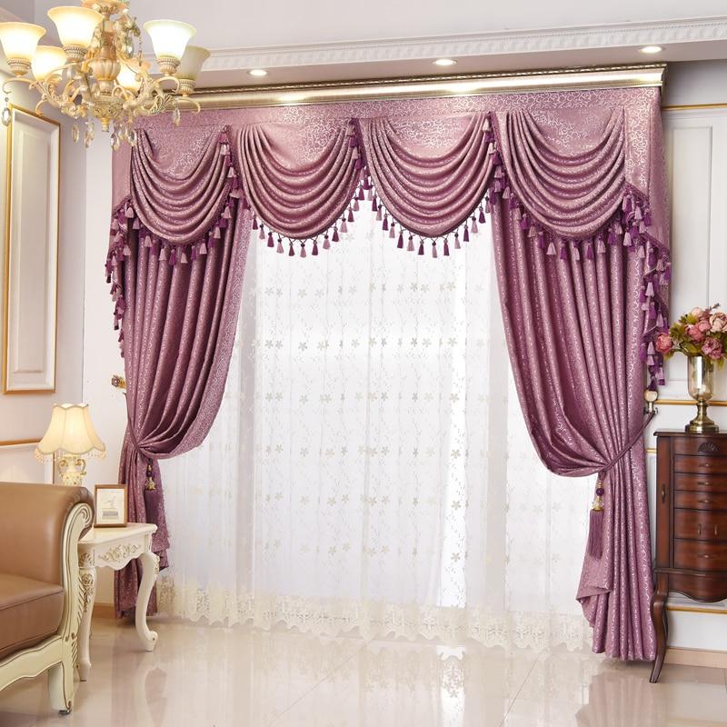 rideaux europeens de luxe haut de gamme voilage occultant en tissu violet jupe en tulle pour salon balcon baie vitree n860