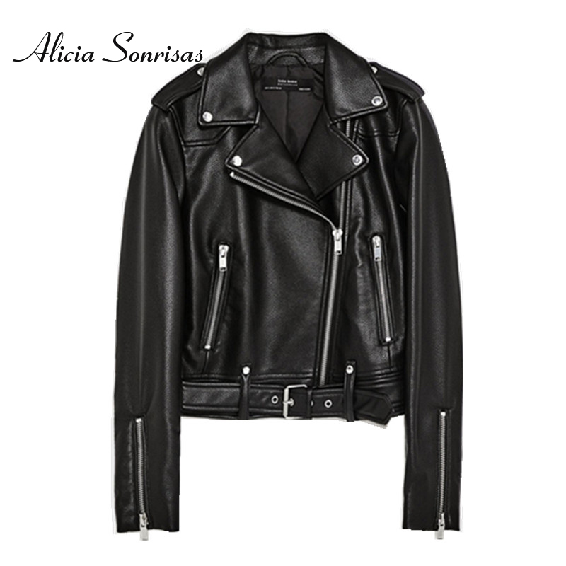 2018 Leather Jacket Women PU Faux Leather Jackets Litchi Pattern Lady Sashes Pockets Black Zippers Motorcycle