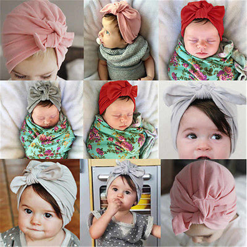 9fb52f1015a ... Newbaby Newborn Baby Toddler Kid Boy Girl Infant Bowknot Soft Cotton  Beanie Hat Cap 0- ...