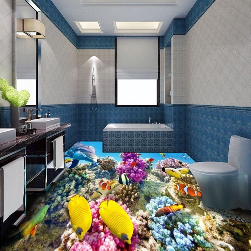 Free Shipping HD 3d Stereo Coral Reef Tropical Fish Bathroom Bedroom Floor Self-adhesive Living Room Office Flooring Mural