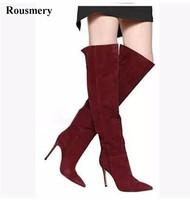 Hot Sale Women Fashion Pointed Toe Suede Leather Knee High Boots Classical Design Long High Heel Boots
