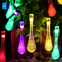 Solar Outdoor String Lights Water Drop 20LED Solar Powered LED String Garland Light Garden Christmas Lights