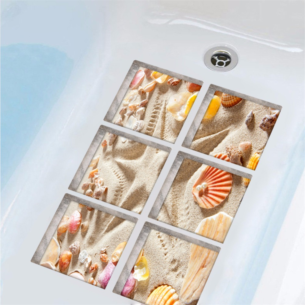 Yanqiao 5.9x5.9 6pcs/set 3D Beach Shell Non-slip Self Adhesive Bath Tub Tattoo Stickers Waterproof