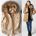 New 2015 Women Fur Hooded Slim Waist Wadded Coats Fashion Winter Thicken Warm Parkas Women Cotton Padded Jackets Overcoat H4546