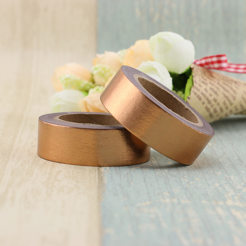 1X Copper Foil Washi Tape Paper 1.5cm*10m Kawaii Scrapbooking Tools Masking Tape Metallic Christmas Diy Decorative Tapes