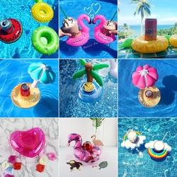 Mini Wasser Bahnen boia Flamingo Schwimm aufblasbare tasse halter Schwimmen pool trinken float spielzeug tasse stehen Wasser