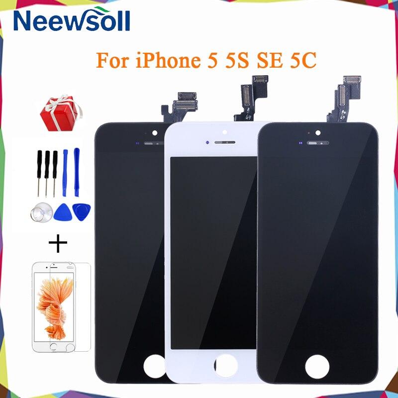 Cep telefonları ve Telekomünikasyon Ürünleri'ten Cep Telefonu LCD'leri'de Neewsoll 100% AAA + için yedek ekran iphone 5G 5S 5C SE LCD dokunmatik ekran digitizer tam meclisi Pantalla için iphone 5S title=