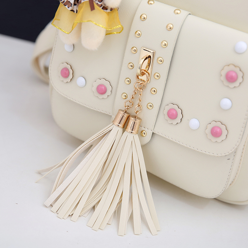 Backpack Female 3 Piece Combination Composite Bag Bear Hanging Inlaid Imitation Diamond Tassel Fashion Casual Shoulder Bag 63