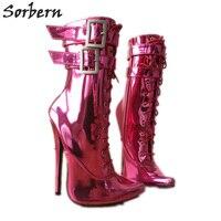 Sorbern пикантные Фетиш ботильоны на высоком каблуке унисекс плюс размеры молния 18 см шпильках двойной ремень пряжки горячий розовый металлик