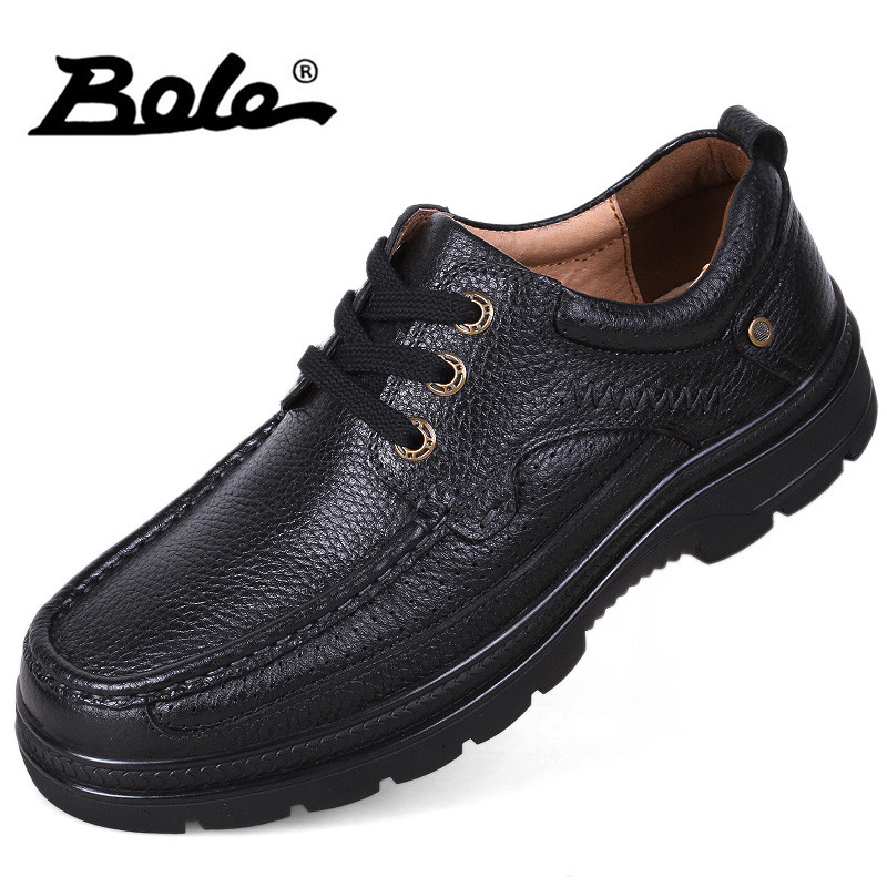 BOLE Autumn New Arrival Handmade Leather Men Shoes Fashion Designer Lace Up Business Casual Shoes Men Flats Round Toe Men Shoes new 2017 autumn men leather shoes fashion design weave pattern handmade men casual leather shoes size 38 44