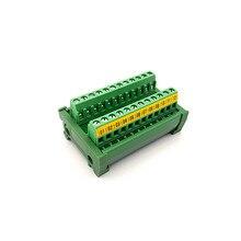 DIN Rail Mount 24A/400V 12 Position Screw Terminal Block Distribution Module.