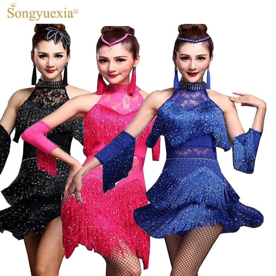 Frauen Latin Dance Kleid Fringe Frauen Gesellschaftstanz Kleider ...