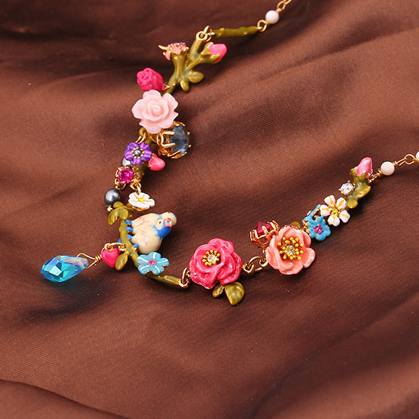French luxury enamel L*S stereo rose blue tits drop daisy color sweet short chain necklace