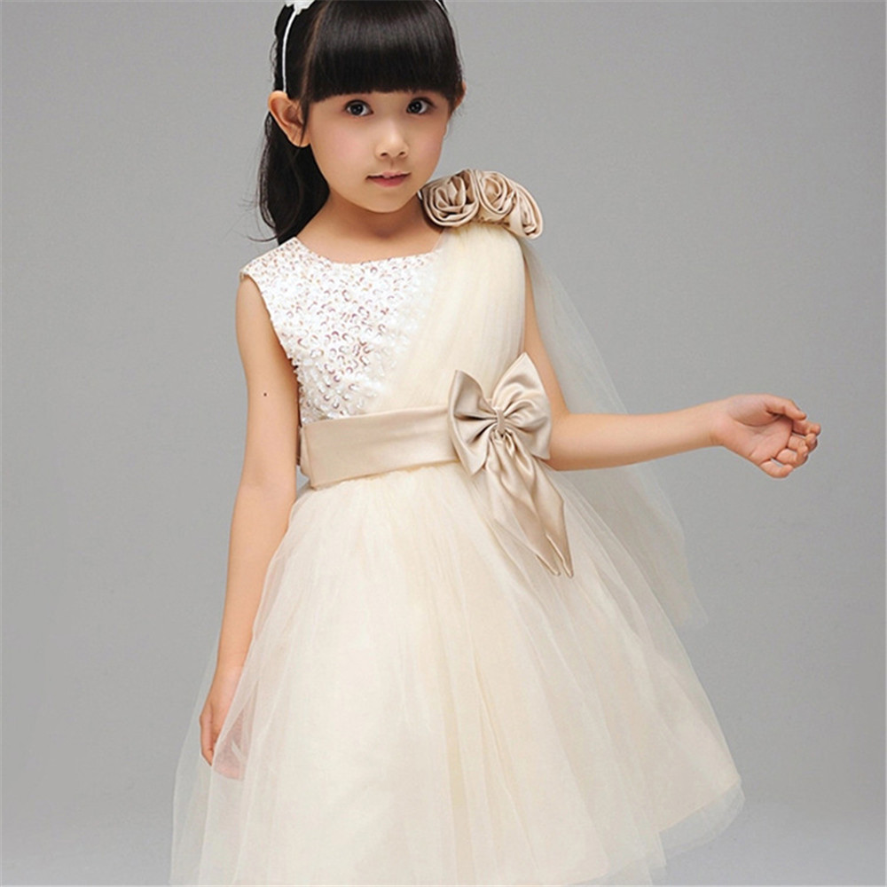 Summer Style Girl Dress Little Baby Girls Evening Party Elegant Single Oblique Shoulder Clothing Kids Clothes