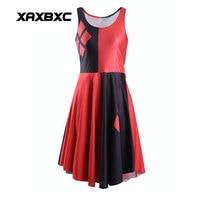 XAXBXC 1044 Moda Verão Sexy Girl Vestido Skater Vermelho Losango Preto Harley Quinn Impressões 3D Colete Elástico Das Mulheres Vestido Plissado