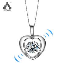 100% 925 Sterling Silver Love Heart Pendant AAA Zircon Water Ripples Chain necklace Female Jewelry (Support distribution
