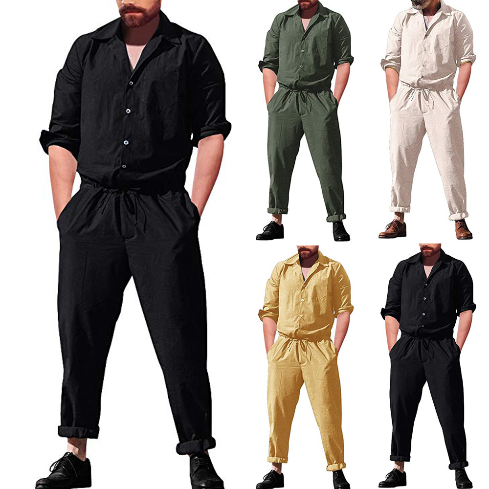 Men/'s Short Romper Sleeve Casual Cargo Pants Jumpsuit Siamese Trousers Playsuit